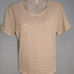 Women's Impressions cream textured blouse small